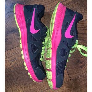 Nike Women's Navy + Neon Tennis Shoes